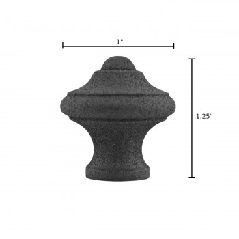 "spec-<PRE>Cabinet Knob Black Wrought Iron 1"" Set of 10 </PRE>"