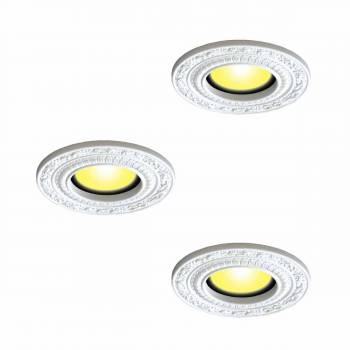 3 Spot Light Trim Medallions 6 ID White Urethane Set of 3