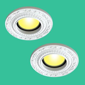 "<PRE>2 Spot Light Ring White Trim 8inch ID x 12"" OD Mini Medallion </PRE>zoom2"