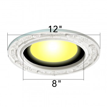 spec-<PRE>4 Spot Light Ring White Trim 8&quot; ID x 12&quot; OD Mini Medallion </PRE>