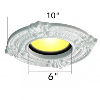 "spec-<PRE>Spot Light Trim Medallions 6"" ID Urethane White Set of 3 </PRE>"