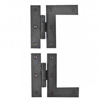 Pair Cabinet Flush Hinge HLBlack Wrought Iron 3 12 H