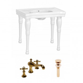 Renovator's Supply White Bathroom Console Sink Belle Combo Set with Faucet26832grid