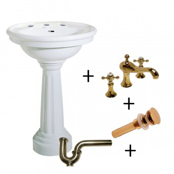 White Ceramic Freestanding Pedestal Sink with 8