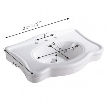 spec-<PRE>Bathroom Console Sink Deluxe Counter Top White Vitreous China </PRE>