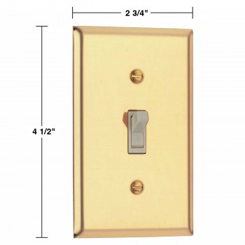 spec-<PRE>Bright Solid Brass Single Toggle Switchplate </PRE>