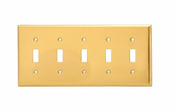 Switch Plate Bright Solid Brass Five Toggle 27004grid