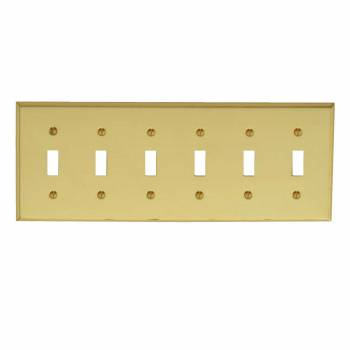 Switch Plate Bright Solid Brass Six Toggle Switch Plate Wall Plates Switch Plates