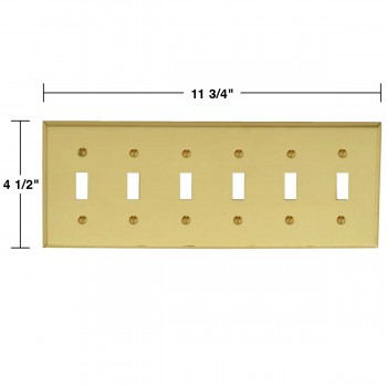spec-<PRE>Switch Plate Bright Solid Brass Six Toggle </PRE>