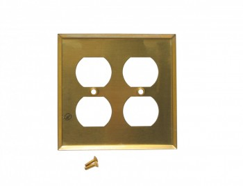 <PRE>Switch Plate Bright Solid Brass 2 Gang Outlet Wall Plate </PRE>zoom3