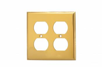 <PRE>Switch Plate Bright Solid Brass 2 Gang Outlet Wall Plate </PRE>zoom1