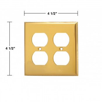 spec-<PRE>Switch Plate Bright Solid Brass 2 Gang Outlet Wall Plate </PRE>