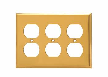 <PRE>Switch Plates Bright Solid Brass Triple Outlet </PRE>zoom1