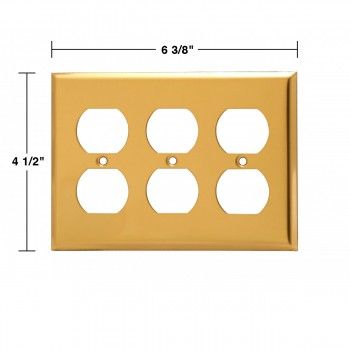 spec-<PRE>Switch Plates Bright Solid Brass Triple Outlet </PRE>