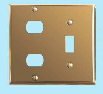 <PRE>Switch Plates Bright Solid Brass 2 Hole Interchange </PRE>zoom2