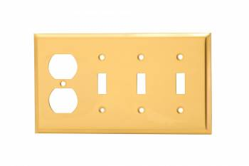<PRE>Switch Plate Bright Solid Brass Triple Toggle Outlet </PRE>zoom1