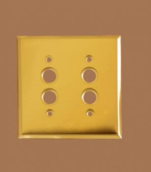 <PRE>Switch Plate Bright Solid Brass Double Pushbutton </PRE>zoom2