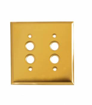 Switch Plate Bright Solid Brass Double Pushbutton 27064grid