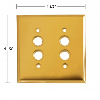 spec-<PRE>Switch Plate Bright Solid Brass Double Pushbutton </PRE>