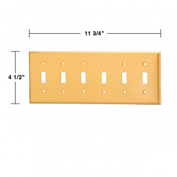 spec-<PRE>Switch Plate Brushed Solid Brass Six Toggle </PRE>