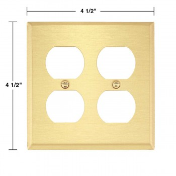 spec-<PRE>Switch Plate Brushed Brass Double Outlet </PRE>
