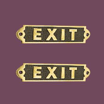 Exit Sign Solid Polished Brass Plaques Tarnish Resistant Brass Plate Pack Of 2 Exit Sign Brass Plaques Brass Plate