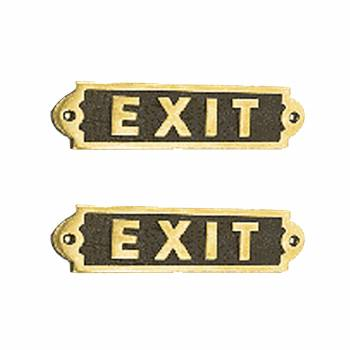 Exit Sign Solid Polished Brass Plaque Tarnish Resistant Pack of 2