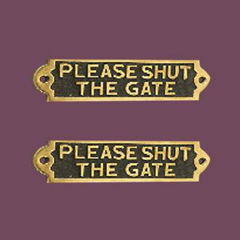 <PRE>Solid Brass Plaques PLEASE SHUT THE GATE Sign Polished Brass Plate Pack Of 2</PRE>zoom2