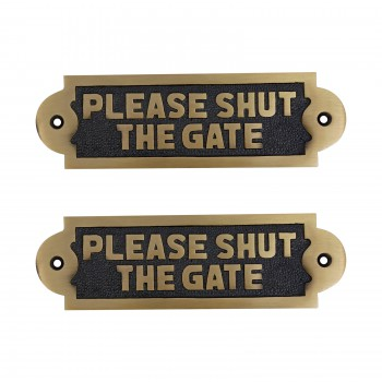 Polished Brass Please Shut The Gate 2 1/8 H x 7 W inch