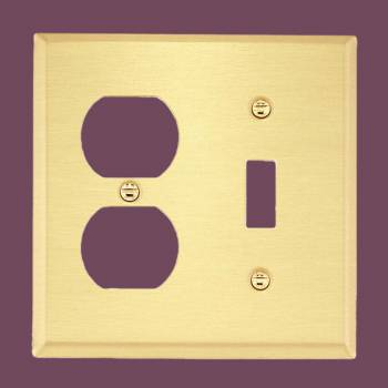 <PRE>Switch Plate Brushed Solid Brass Toggle/Outlet </PRE>zoom2