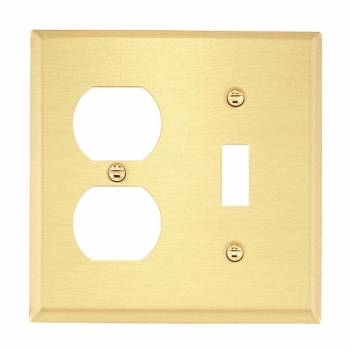 Switch Plate Brushed Solid Brass Toggle/Outlet 27141grid