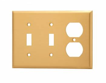 Switch Plate Brushed Brass Double Toggle/Outlet 27155grid