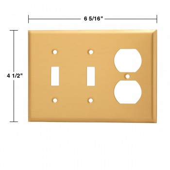 spec-<PRE>Switch Plate Brushed Brass Double Toggle/Outlet </PRE>