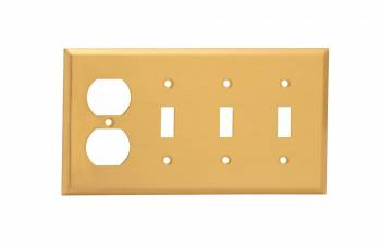 <PRE>Switch Plate Brushed Brass Triple Toggle Outlet </PRE>zoom1