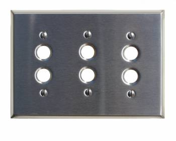 Switch Plate Satin Stainlees Steel 3 Push Button 27165grid