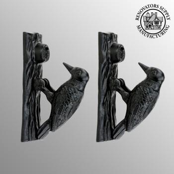 Door Knocker Black Cast Iron Woodpecker 6 12 inch H 2 inch W Pack of 2 Iron Door Knocker Black Door Knocker Cast iron Door Knockers