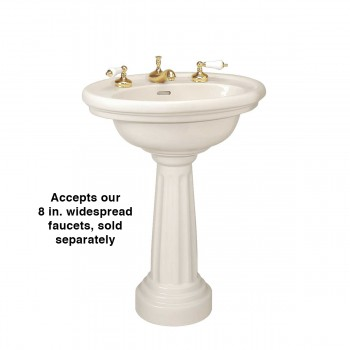 """spec-<PRE>Biscuit Pedestal Sink Philadelphia Oval China with 8"""" Faucet and P-Trap</PRE>"""