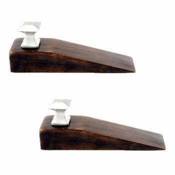 2 Door Wedge Solid Mango Wood Satin Brass Knob Walnut
