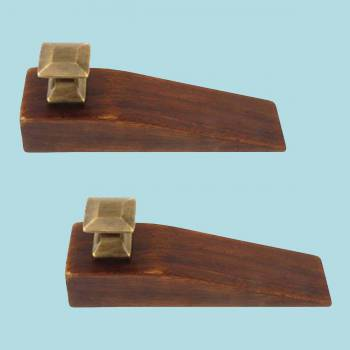 <PRE>2 Mission Wedges Walnut Finished Wood Antique Brass Set of 2 </PRE>zoom2