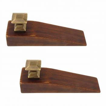 2 Mission Wedges Walnut Finished Wood Antique Brass Set of 2 Floor Stop Door Stop Door Bumper