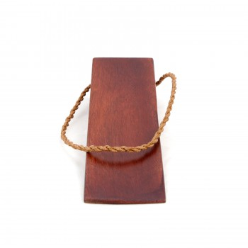 2 Cherry Finish Door Wedge Mango Wood Leather Hanging Loop Floor Stop Door Stop Door Bumper