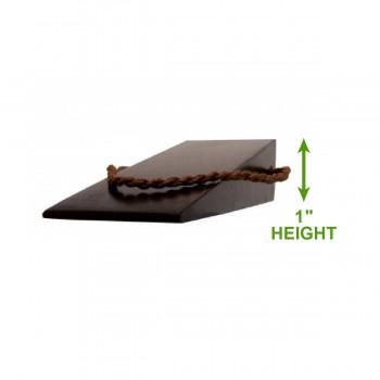 spec-<PRE>Hardwood Doorstop Wedge - Plain Brown Walnut Finish   </PRE>