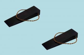 2 Door Wedge Solid Mango Wood Leather Hanging Loop Black Floor Stop Door Stop Door Bumper