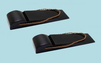<PRE>2 Door Wedge Solid Mango Wood Leather Hanging Loop Black </PRE>zoom2
