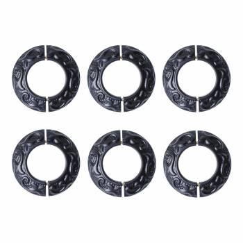 6 Radiator Flanges Fleur De Lis Black Aluminum 27431grid