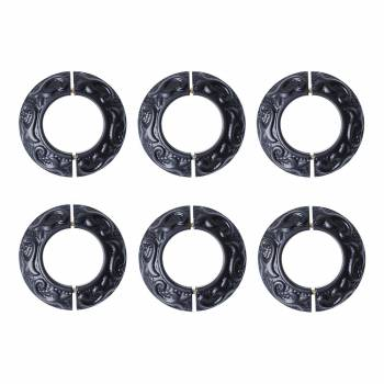 6 Radiator Flanges Fleur De Lis Black Aluminum 1 11/16