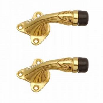<PRE>2 Brass Door Stop Floor Mount Bumper Ribbed </PRE>