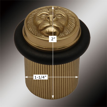 spec-<PRE>2 Brass Door Stop Floor Mount BumperLion Head </PRE>