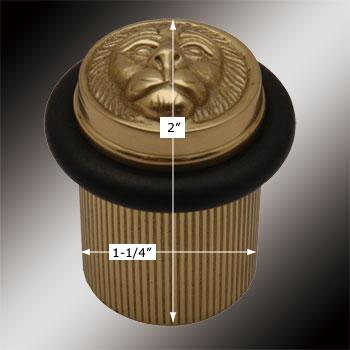 spec-<PRE>2 Brass Door Stop Floor Mount BumperLion Head </PRE>