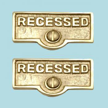 <PRE>2 Switch Plate Tags RECESSED Name Signs Labels Solid Brass </PRE>zoom2